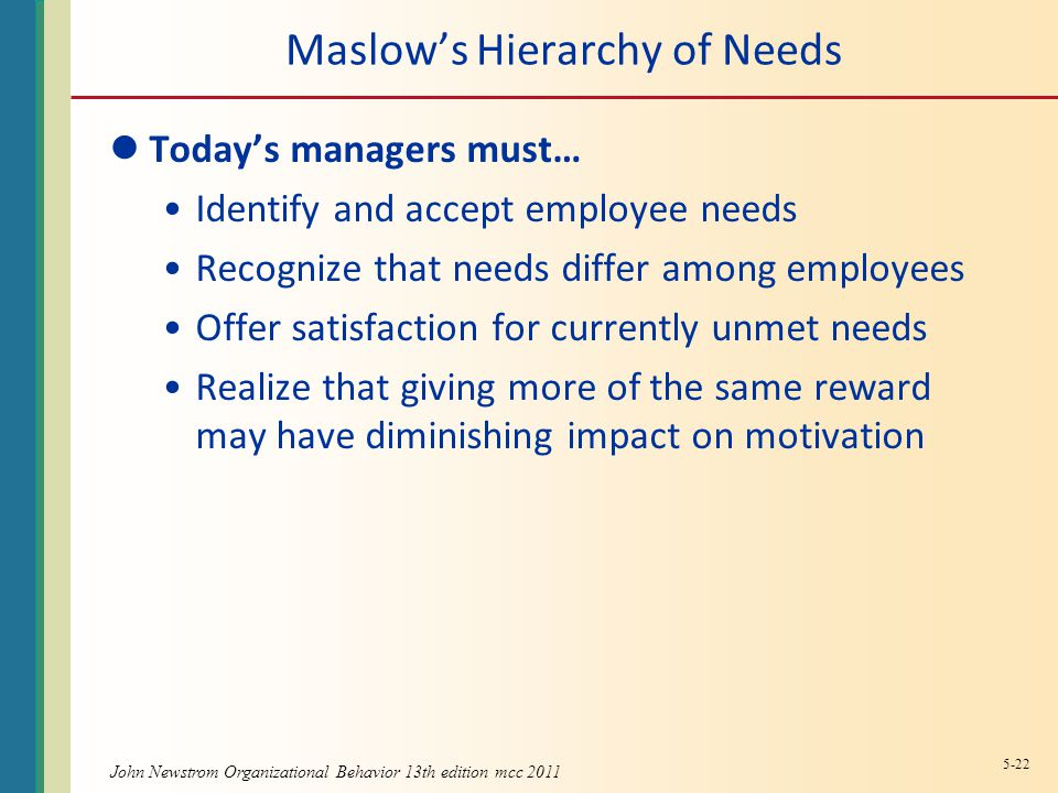 Maslow's Hierarchy of Needs Today's managers must… Identify and accept employee needs Recognize that needs differ among employees Offer satisfaction for currently unmet needs Realize that giving more of the same reward may have diminishing impact on motivation 5-22