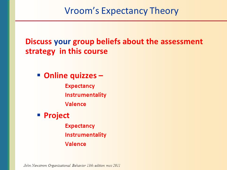 Vroom's Expectancy Theory Discuss your group beliefs about the assessment strategy in this course  Online quizzes – –Expectancy –Instrumentality –Valence  Project –Expectancy –Instrumentality –Valence John Newstrom Organizational Behavior 13th edition mcc 2011