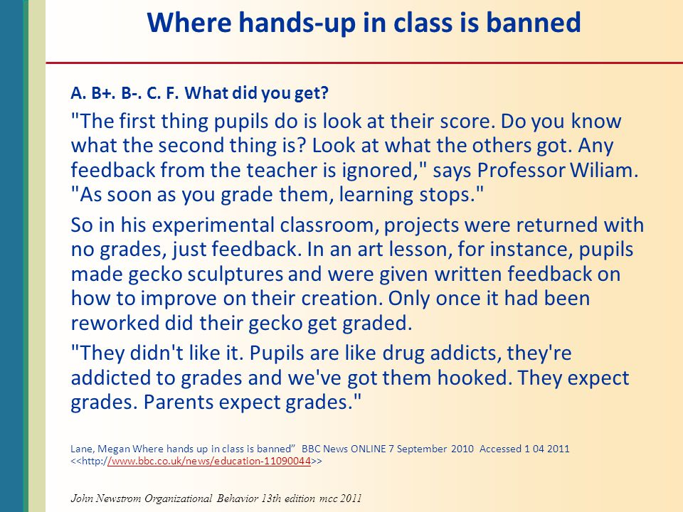 Where hands-up in class is banned A.B+. B-. C. F.