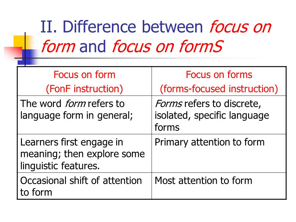 Focus on form: within a communicative approach, referring to learners and teachers addressing formal features of language that play a role in the mean