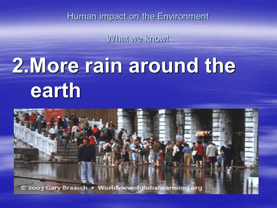 Human impact on the Environment What we know! 3.Ozone hole size changes