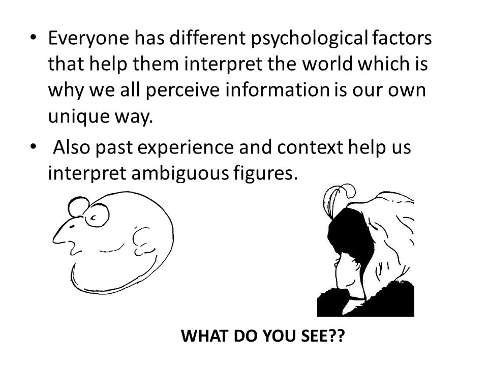 Perceptual Set AKA: Expectancy Our expectancy or mental predisposition to see what we want to see is called a perceptual set.