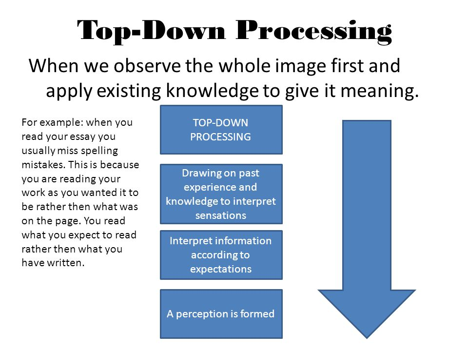 Top-Down Processing When we observe the whole image first and apply existing knowledge to give it meaning. TOP-DOWN PROCESSING Drawing on past experie