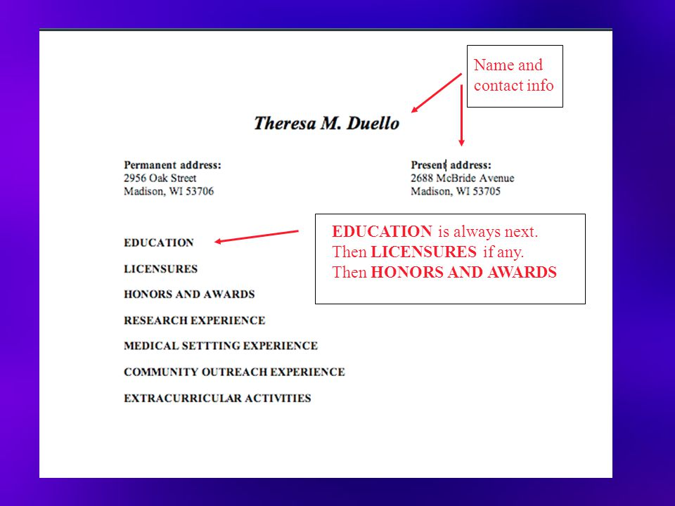 EDUCATION is always next. Then LICENSURES if any. Then HONORS AND AWARDS Name and contact info