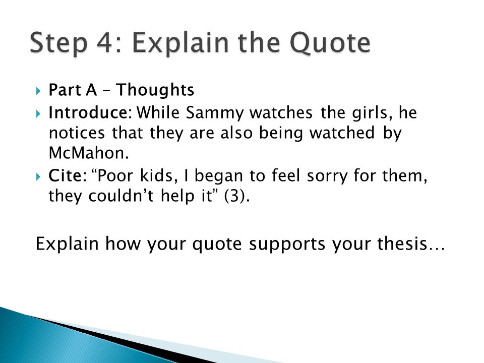  Part A – Thoughts  Introduce: While Sammy watches the girls, he notices that they are also being watched by McMahon.