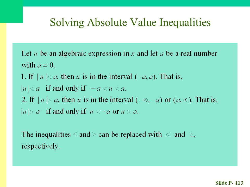 Slide P- 113 Solving Absolute Value Inequalities