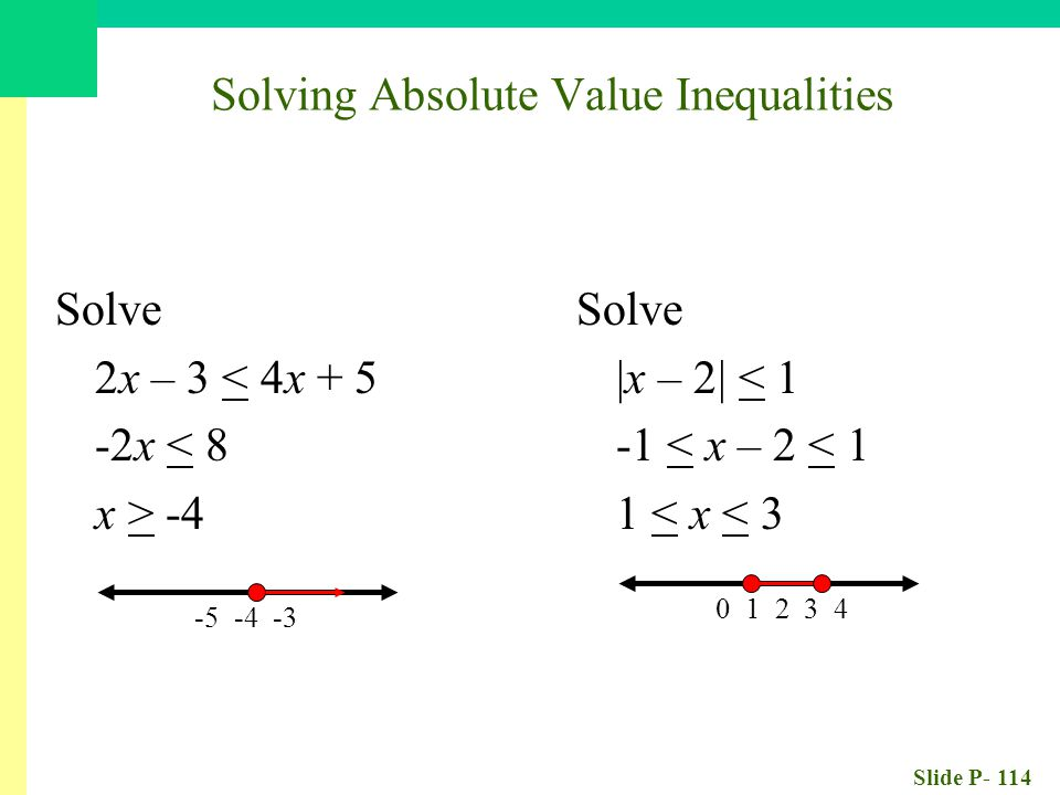 Slide P- 114 Solve 2x – 3 < 4x x < 8 x > Solve |x – 2| < 1 -1 < x – 2 < 1 1 < x < Solving Absolute Value Inequalities