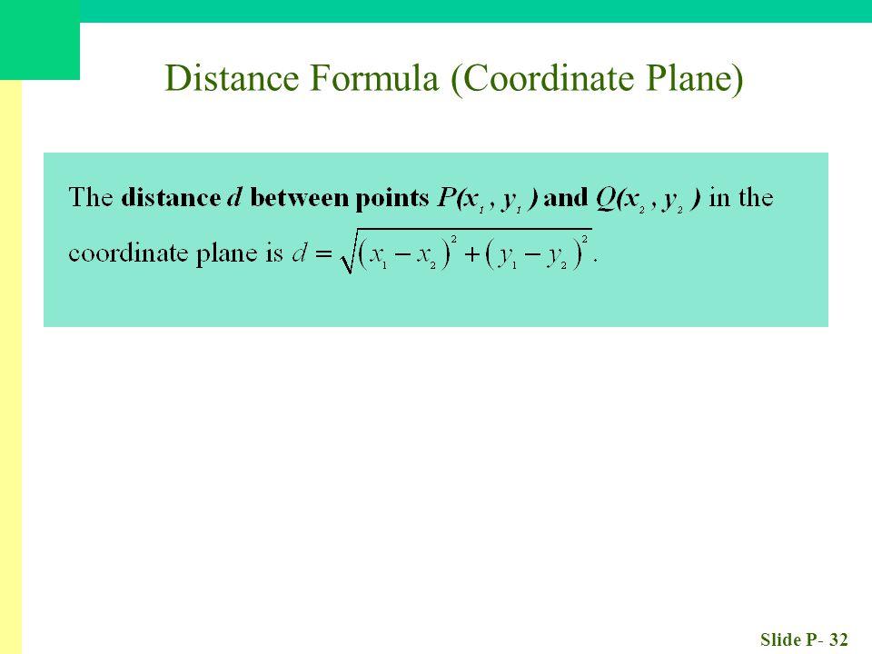 Slide P- 32 Distance Formula (Coordinate Plane)