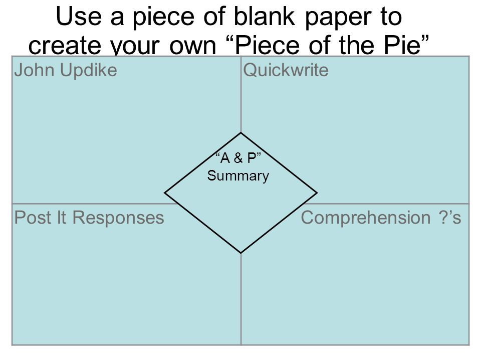 "Use a piece of blank paper to create your own ""Piece of the Pie"" foldable. John UpdikeQuickwrite Post It Responses Comprehension ?'s ""A & P"" Summary"