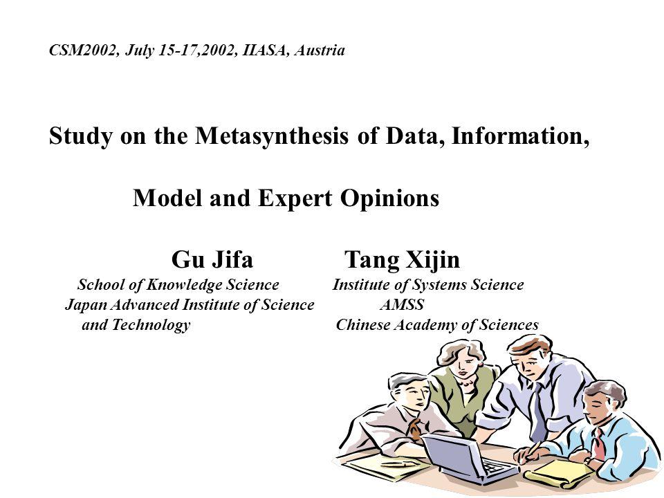 CSM2002, July 15-17,2002, IIASA, Austria Study on the Metasynthesis of Data, Information, Model and Expert Opinions Gu Jifa Tang Xijin School of Knowl