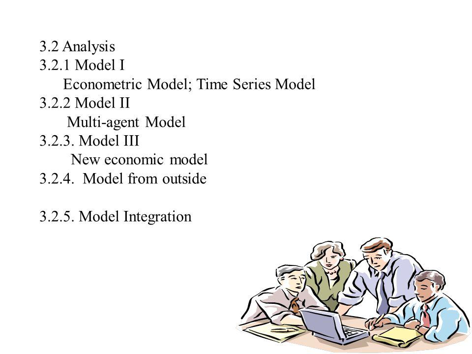 3.2 Analysis 3.2.1 Model I Econometric Model; Time Series Model 3.2.2 Model II Multi-agent Model 3.2.3.