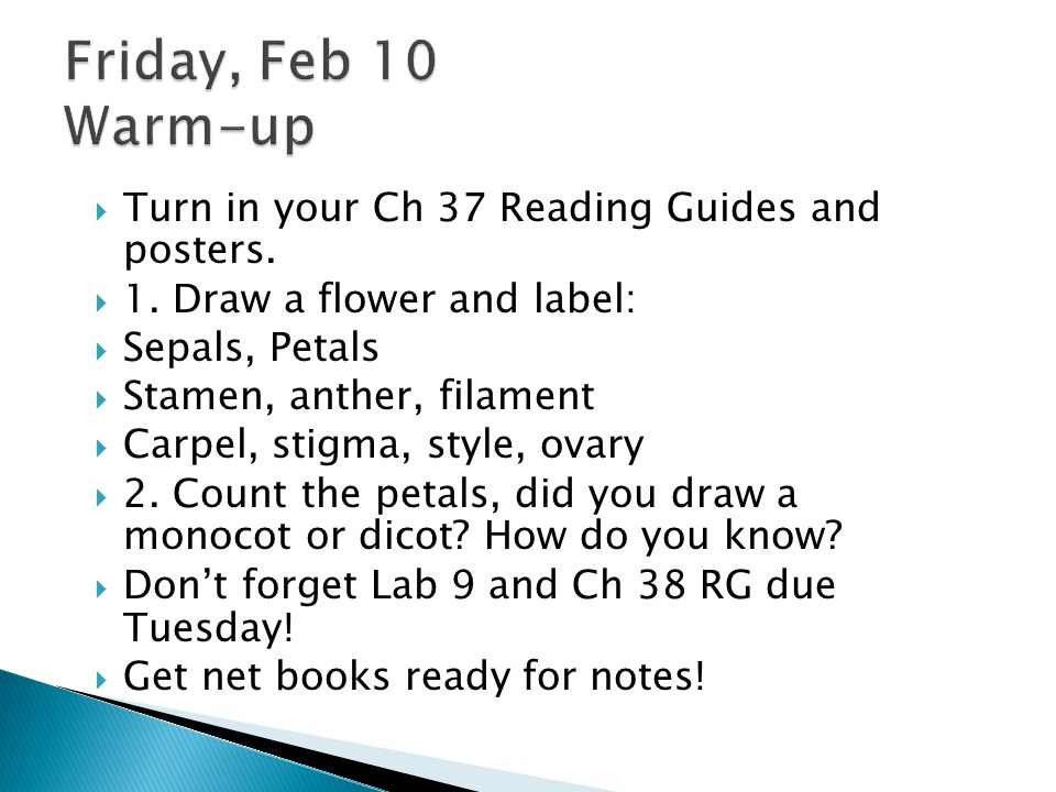  Turn in your Ch 37 Reading Guides and posters. 1.