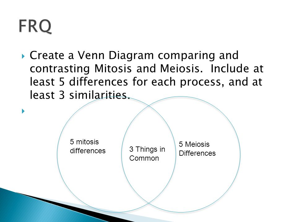  Create a Venn Diagram comparing and contrasting Mitosis and Meiosis.