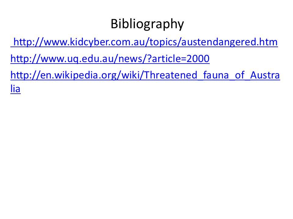 Bibliography http://www.kidcyber.com.au/topics/austendangered.htm http://www.uq.edu.au/news/ article=2000 http://en.wikipedia.org/wiki/Threatened_fauna_of_Austra lia