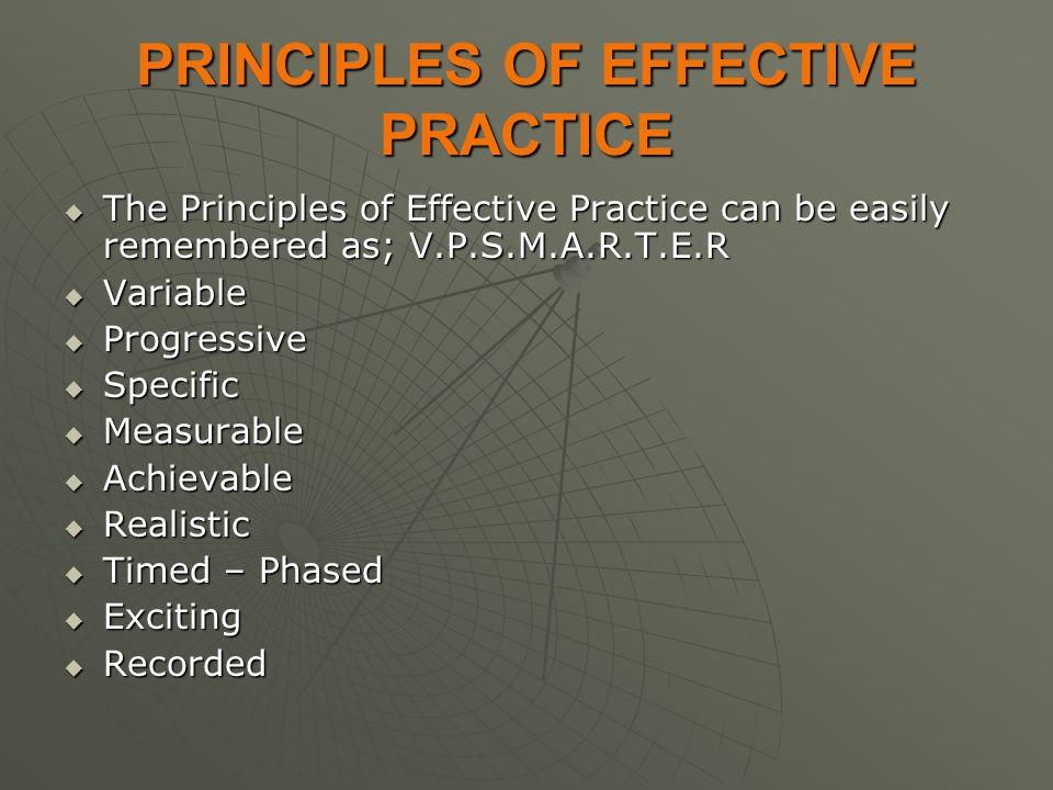 PRINCIPLES OF EFFECTIVE PRACTICE  The Principles of Effective Practice can be easily remembered as; V.P.S.M.A.R.T.E.R  Variable  Progressive  Spec