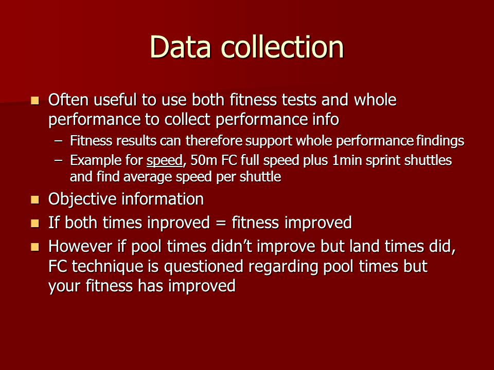 Types of Data We are going to focus on We are going to focus on  Knowledge of results (whole performance) to collect our INITIAL DATA  Observation schedules & Standardised Tests to collect our FOCUSED DATA