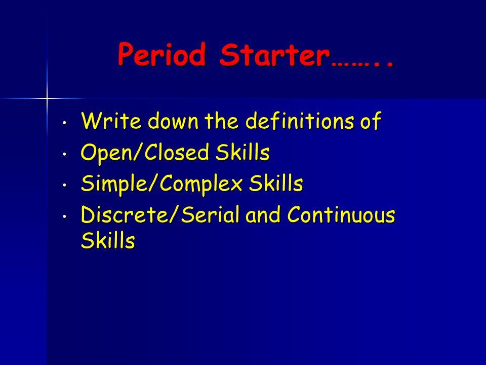 Period Starter……..