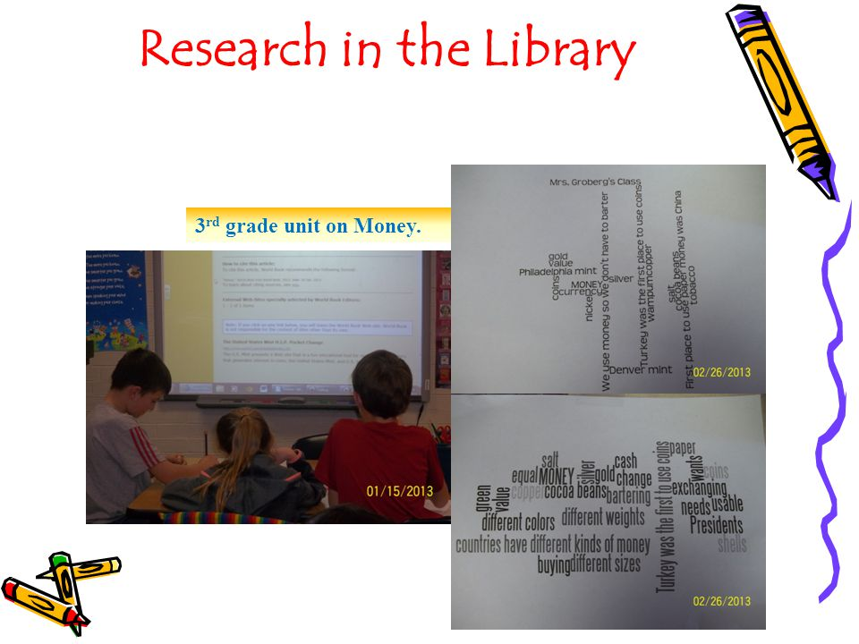 Research in the Library 3 rd grade unit on Money.