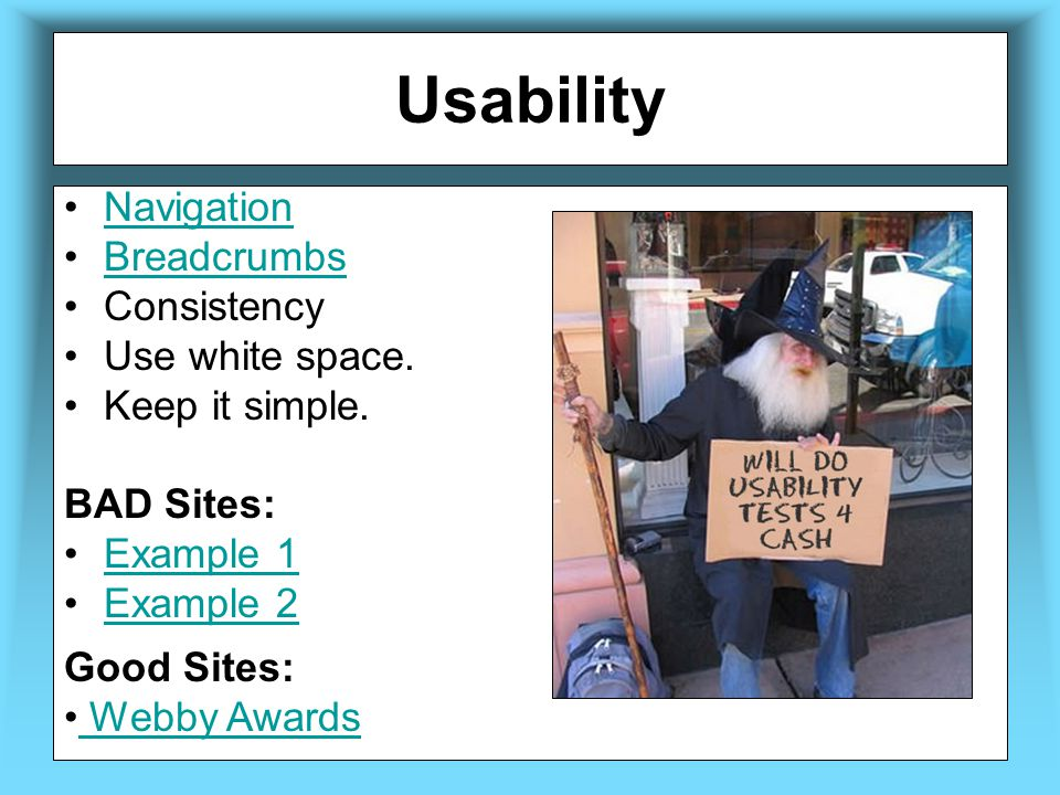 Usability Navigation Breadcrumbs Consistency Use white space.