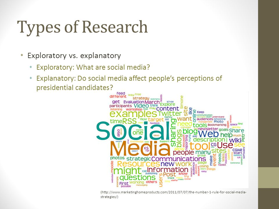 Types of Research Exploratory vs. explanatory Exploratory: What are social media.