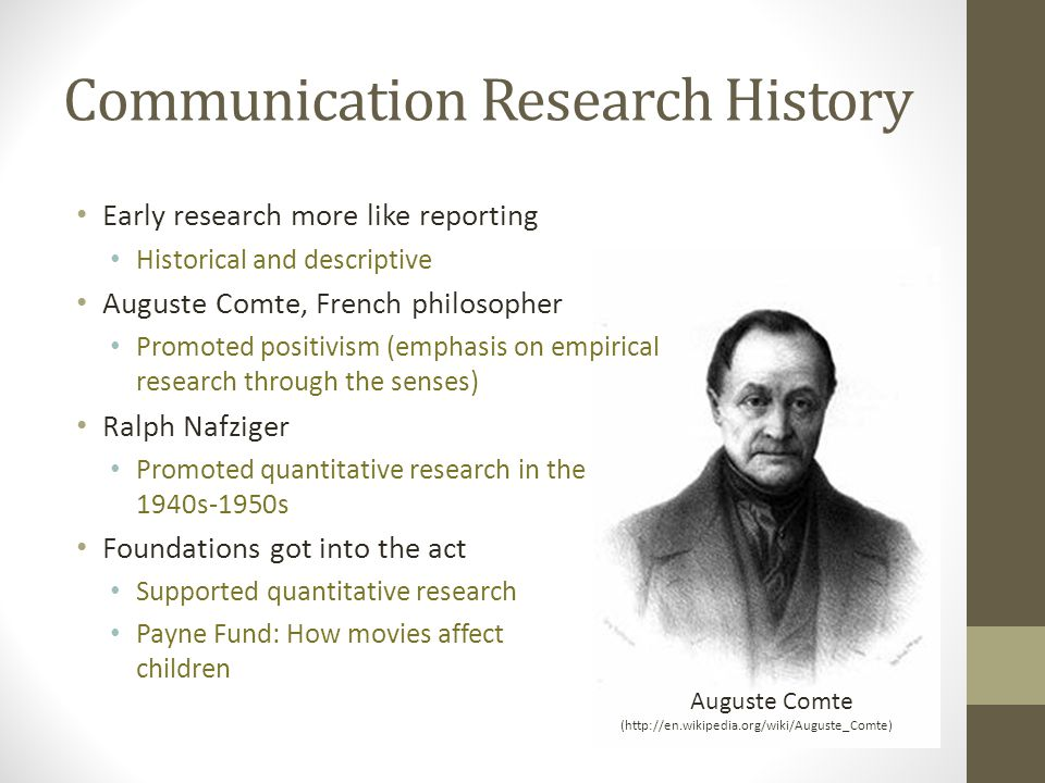 Communication Research History Early research more like reporting Historical and descriptive Auguste Comte, French philosopher Promoted positivism (emphasis on empirical research through the senses) Ralph Nafziger Promoted quantitative research in the 1940s-1950s Foundations got into the act Supported quantitative research Payne Fund: How movies affect children (http://en.wikipedia.org/wiki/Auguste_Comte) Auguste Comte
