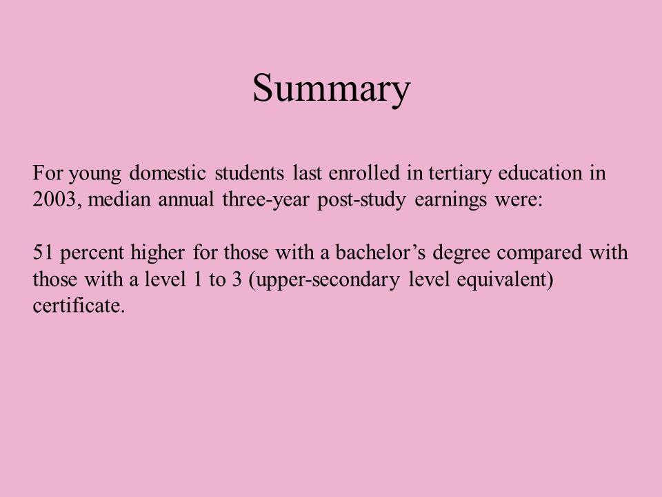 Summary For young domestic students last enrolled in tertiary education in 2003, median annual three-year post-study earnings were: 51 percent higher