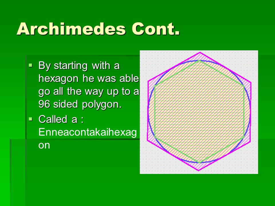 Archimedes Cont. By starting with a hexagon he was able go all the way up to a 96 sided polygon.