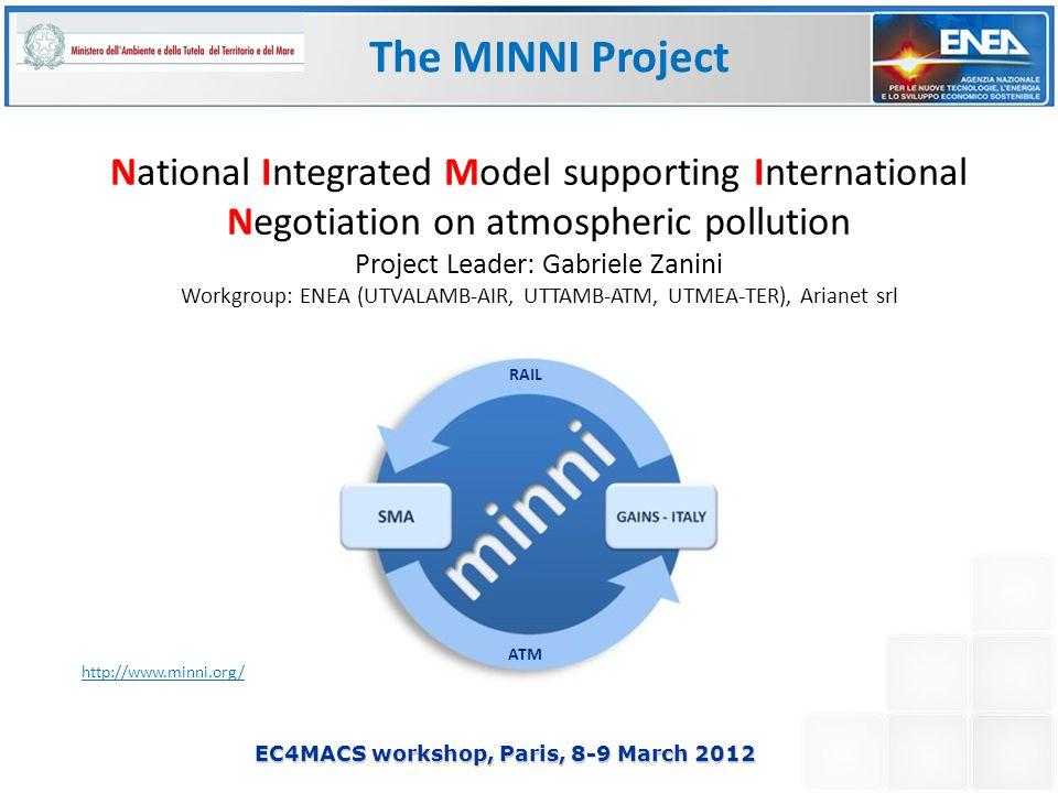 EC4MACS workshop, Paris, 8-9 March 2012 National Integrated Model supporting International Negotiation on atmospheric pollution Project Leader: Gabriele Zanini Workgroup: ENEA (UTVALAMB-AIR, UTTAMB-ATM, UTMEA-TER), Arianet srl http://www.minni.org/ The MINNI Project RAIL ATM