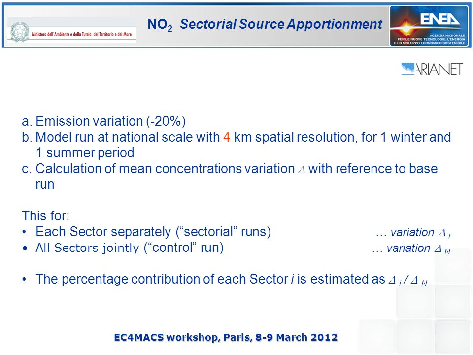 EC4MACS workshop, Paris, 8-9 March 2012 NO 2 Sectorial Source Apportionment a.