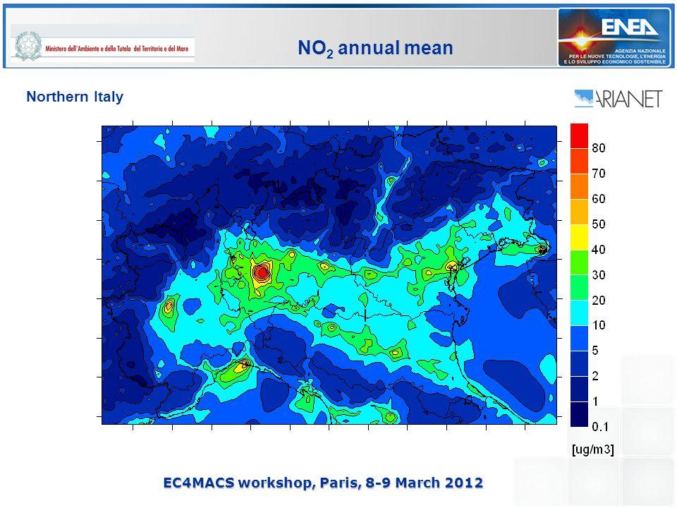 EC4MACS workshop, Paris, 8-9 March 2012 NO 2 annual mean Northern Italy