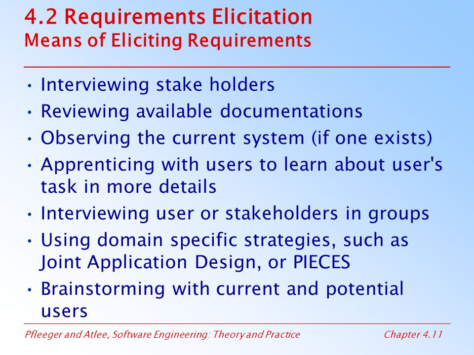 Pfleeger and Atlee, Software Engineering: Theory and PracticeChapter 4.11 4.2 Requirements Elicitation Means of Eliciting Requirements Interviewing st