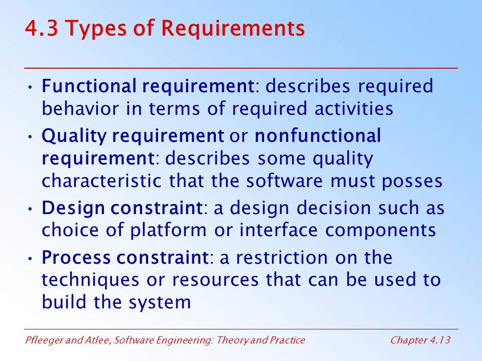 Pfleeger and Atlee, Software Engineering: Theory and PracticeChapter 4.13 4.3 Types of Requirements Functional requirement: describes required behavio