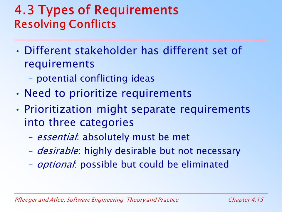 Pfleeger and Atlee, Software Engineering: Theory and PracticeChapter 4.15 4.3 Types of Requirements Resolving Conflicts Different stakeholder has diff