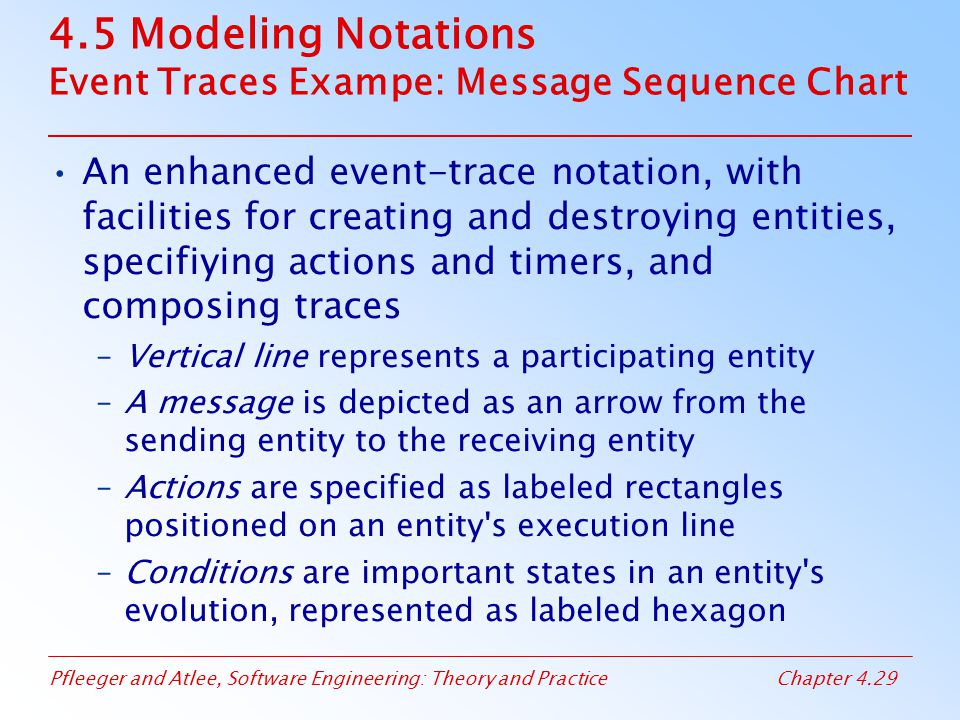 Pfleeger and Atlee, Software Engineering: Theory and PracticeChapter 4.29 4.5 Modeling Notations Event Traces Exampe: Message Sequence Chart An enhanc