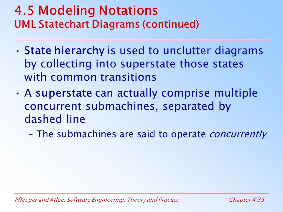 Pfleeger and Atlee, Software Engineering: Theory and PracticeChapter 4.35 4.5 Modeling Notations UML Statechart Diagrams (continued) State hierarchy i