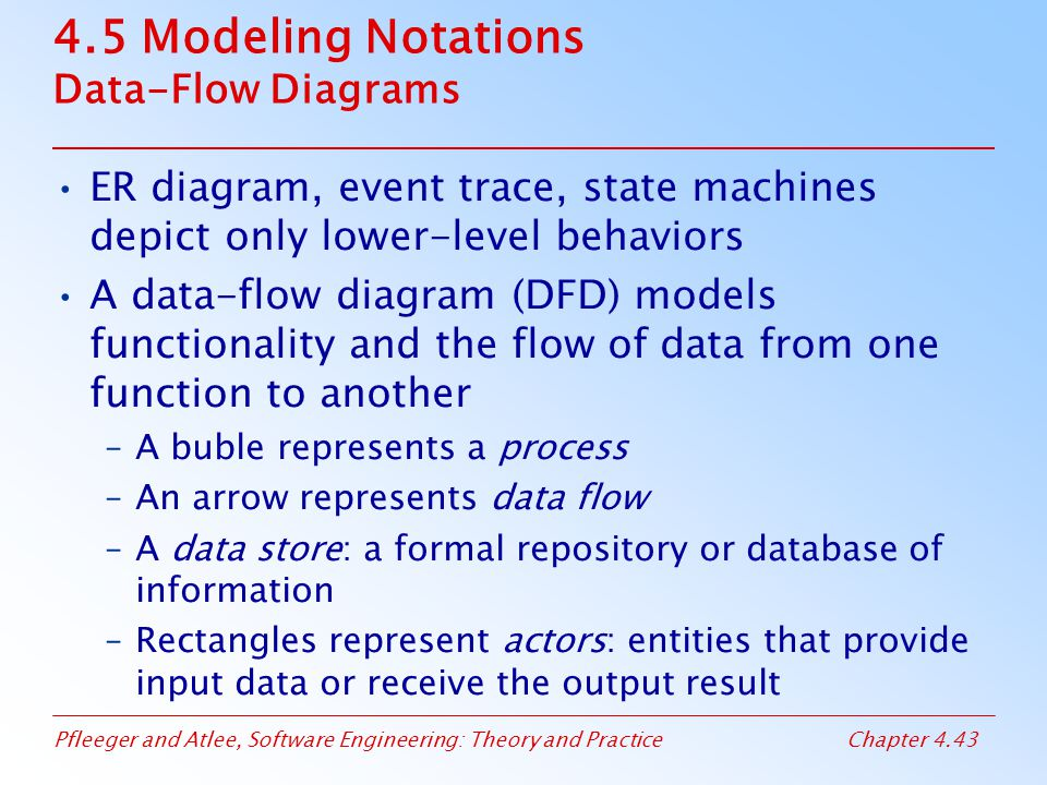 Pfleeger and Atlee, Software Engineering: Theory and PracticeChapter 4.43 4.5 Modeling Notations Data-Flow Diagrams ER diagram, event trace, state machines depict only lower-level behaviors A data-flow diagram (DFD) models functionality and the flow of data from one function to another –A buble represents a process –An arrow represents data flow –A data store: a formal repository or database of information –Rectangles represent actors: entities that provide input data or receive the output result