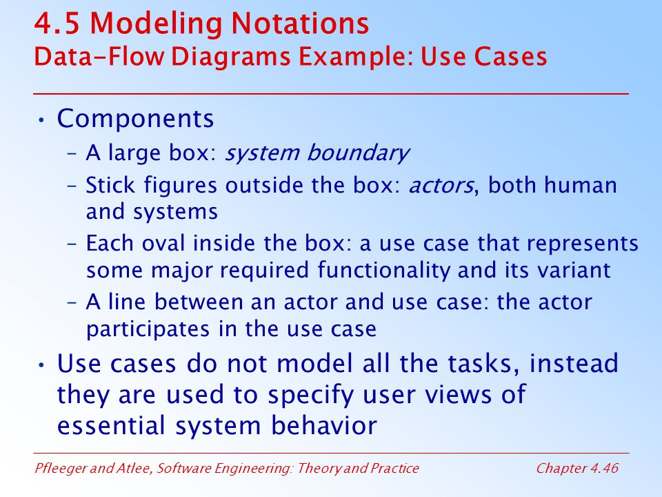 Pfleeger and Atlee, Software Engineering: Theory and PracticeChapter 4.46 4.5 Modeling Notations Data-Flow Diagrams Example: Use Cases Components –A large box: system boundary –Stick figures outside the box: actors, both human and systems –Each oval inside the box: a use case that represents some major required functionality and its variant –A line between an actor and use case: the actor participates in the use case Use cases do not model all the tasks, instead they are used to specify user views of essential system behavior