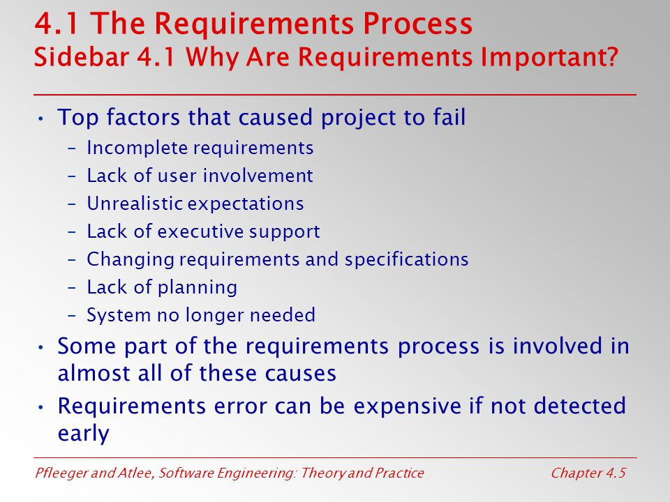 Pfleeger and Atlee, Software Engineering: Theory and PracticeChapter 4.5 4.1 The Requirements Process Sidebar 4.1 Why Are Requirements Important? Top