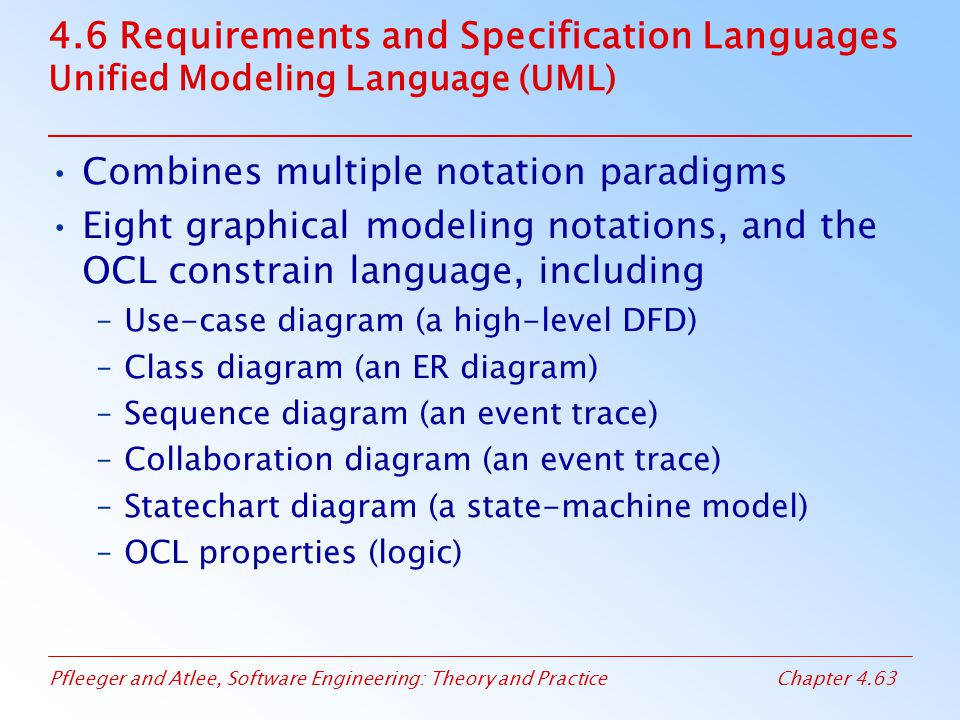 Pfleeger and Atlee, Software Engineering: Theory and PracticeChapter 4.63 4.6 Requirements and Specification Languages Unified Modeling Language (UML)