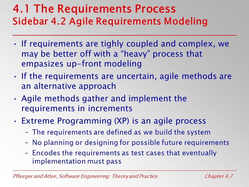 Pfleeger and Atlee, Software Engineering: Theory and PracticeChapter 4.7 4.1 The Requirements Process Sidebar 4.2 Agile Requirements Modeling If requi