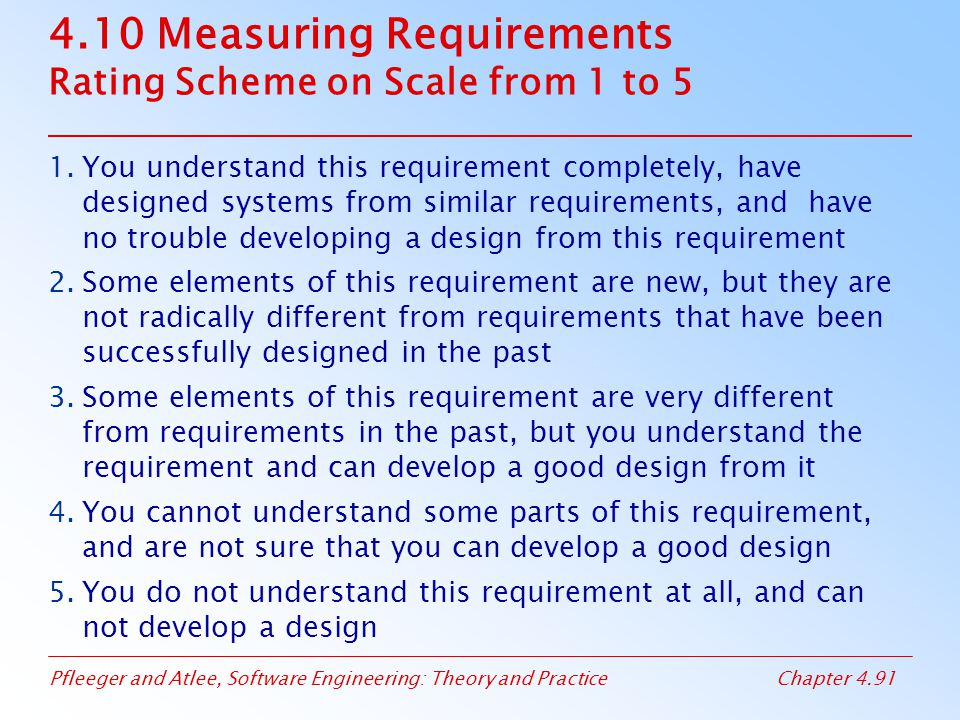 Pfleeger and Atlee, Software Engineering: Theory and PracticeChapter 4.91 4.10 Measuring Requirements Rating Scheme on Scale from 1 to 5 1.You understand this requirement completely, have designed systems from similar requirements, and have no trouble developing a design from this requirement 2.Some elements of this requirement are new, but they are not radically different from requirements that have been successfully designed in the past 3.Some elements of this requirement are very different from requirements in the past, but you understand the requirement and can develop a good design from it 4.You cannot understand some parts of this requirement, and are not sure that you can develop a good design 5.You do not understand this requirement at all, and can not develop a design