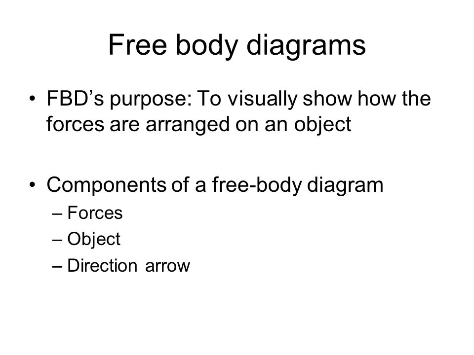 Free body diagrams FBD's purpose: To visually show how the forces are arranged on an object Components of a free-body diagram –Forces –Object –Direction arrow
