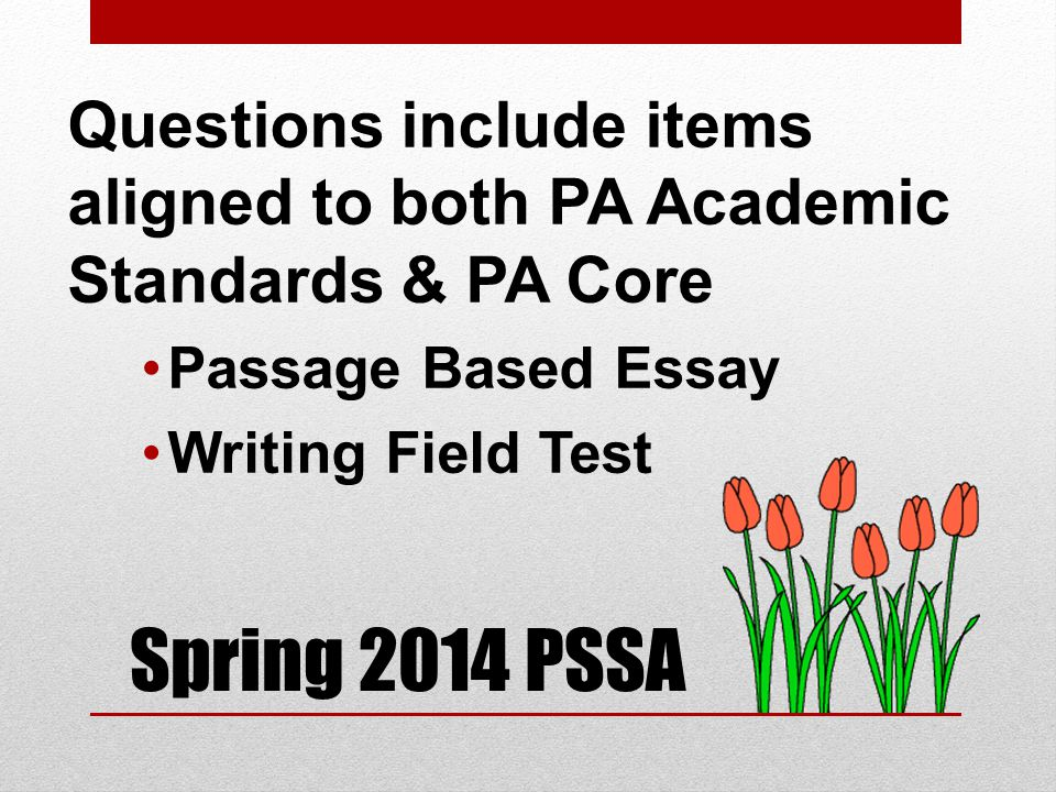 Spring 2014 PSSA Questions include items aligned to both PA Academic Standards & PA Core Passage Based Essay Writing Field Test