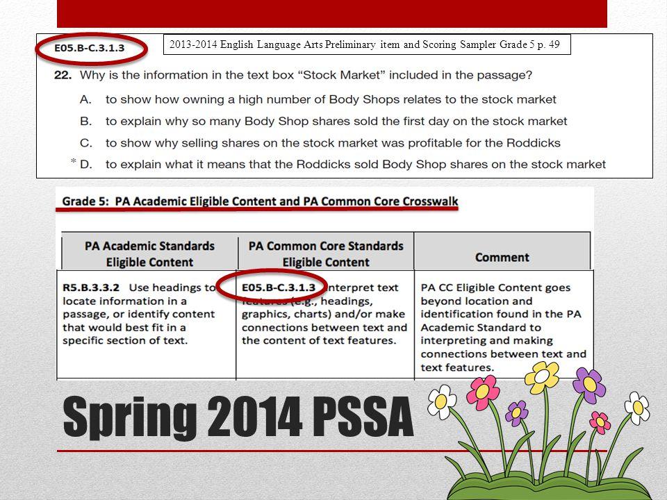 2013-2014 English Language Arts Preliminary item and Scoring Sampler Grade 5 p. 49 Spring 2014 PSSA