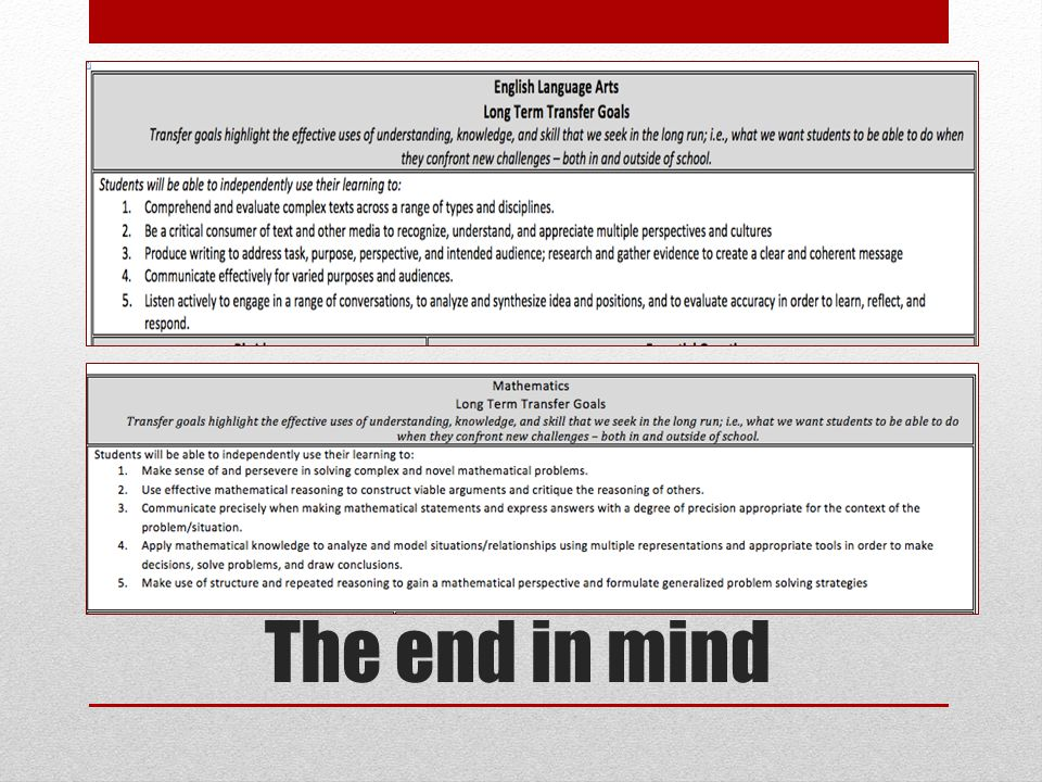 The end in mind