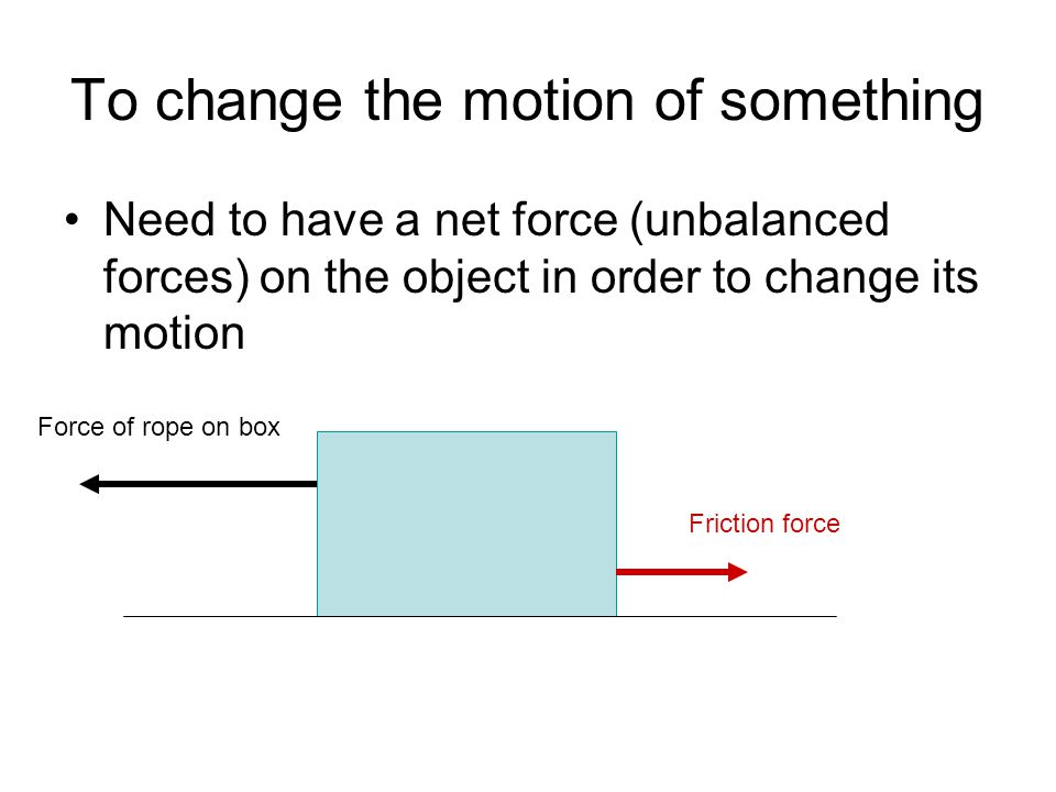 To change the motion of something Need to have a net force (unbalanced forces) on the object in order to change its motion Force of rope on box Friction force
