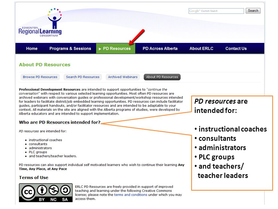 PD resources are intended for: instructional coaches consultants administrators PLC groups and teachers/ teacher leaders
