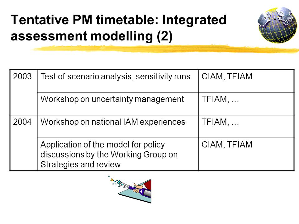 Tentative PM timetable: Integrated assessment modelling (2) 2003Test of scenario analysis, sensitivity runsCIAM, TFIAM Workshop on uncertainty managementTFIAM, … 2004Workshop on national IAM experiencesTFIAM, … Application of the model for policy discussions by the Working Group on Strategies and review CIAM, TFIAM