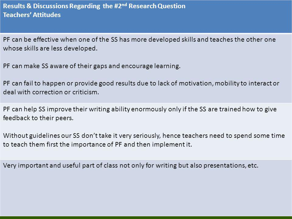 Results & Discussions Regarding the #2 nd Research Question Teachers' Attitudes PF can be effective when one of the SS has more developed skills and t