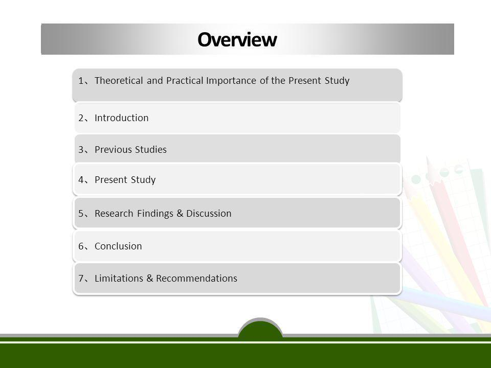 1 、 Theoretical and Practical Importance of the Present Study 2 、 Introduction 3 、 Previous Studies4 、 Present Study5 、 Research Findings & Discussion